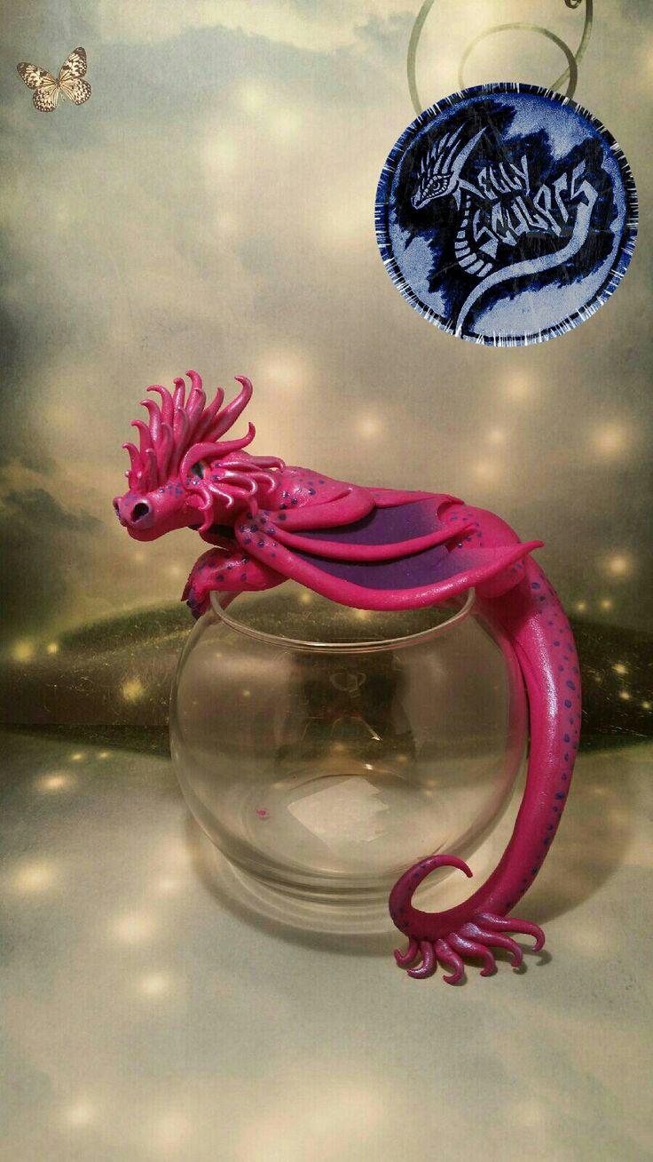 Polymer clay dragon fishbowl by Kellysculpts on facebook #betta #dragons #dragonfish #fishbowl #pinkdragon #polymerclay #art #sculpture #kellysculpts
