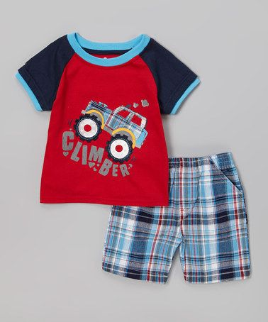 Look at this #zulilyfind! Red Jeep 'Climber' Tee & Blue Plaid Shorts - Toddler by Watch Me Grow #zulilyfinds