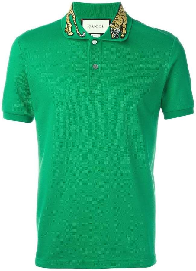 db64d510 Gucci tiger embroidered polo shirt #Gucci #shirt #ShopStyle #MyShopStyle  click link to see more of shirt collection | DETAILS- MEN'S TEE |  Embroidered polo ...