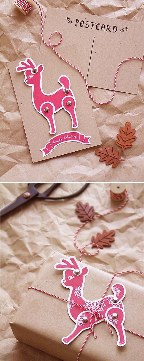 DIY - Reindeer Postcard & Reindeer Gift Tag - Free PDF Printables