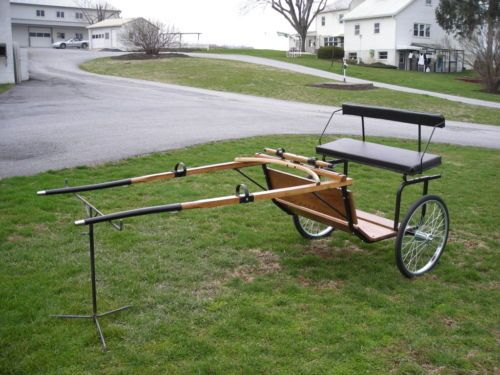 NEW-Amish-Handcrafted-Pony-Horse-Cob-Jog-Cart-Wire-Wheels-Custom-Made-FREE-SHIP