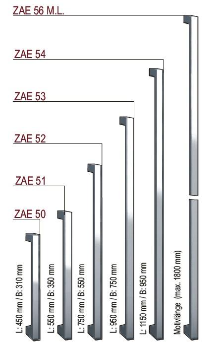 """Inotherm neue Stoßgriffserie """"50""""  Besonders elegante Stoßgriffe - als Option auch mit 1,3 oder 5 Swarovski Kristallen !  Stoßgriff ist für vertikale oder waagerechte Montage geeignet."""