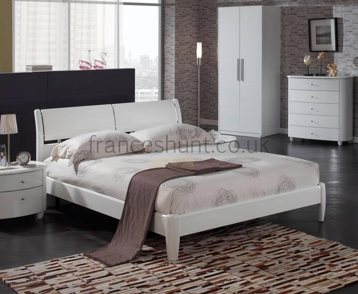 Genova White High Gloss Bed Frame. 61 best White Bedroom Furniture images on Pinterest   White