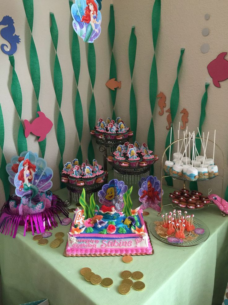Little mermaid theme kids birthday party party planner for Ariel birthday party decoration ideas