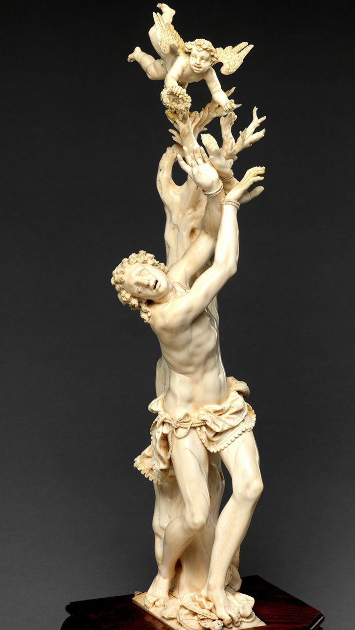 Master of the Furies (Austrian). Saint Sebastian, 17th century. The Metropolitan Museum of Art, New York. Purchase, European Sculpture and Decorative Arts Fund, Walter and Leonore Annenberg Acquisitions Endowment Fund, and Mr. and Mrs. J. Tomilson Hill and Hester Diamond Gifts, 2013 (2013.36) | Saint Sebastian is shown hovering between life and death, casting off his worldly existence as his soul rises to Heaven. #MetViewpoints