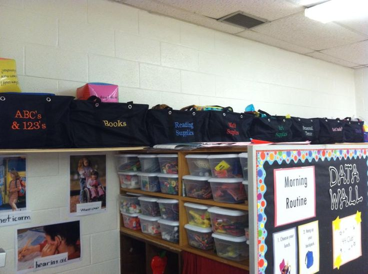 Classroom organization with Large Utility Totes.