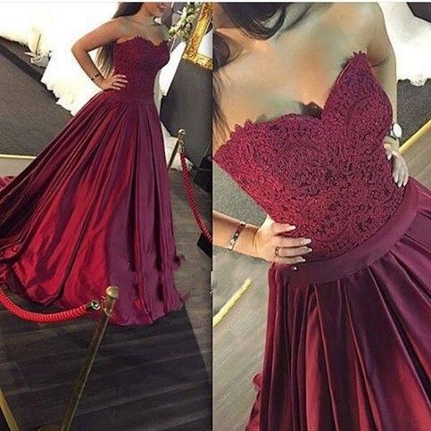 Long Prom Dress, Sweetheart Ball Gown Lace Prom Dress,Formal Dress,Evening Dress, Ball Gown, Party Dress,Burgundy Prom Dresses