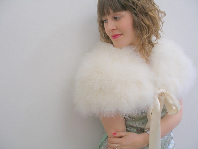 1940's Style 'Love Will Lead the Way' stole Marabou Feather Capelete wrap shrug vintage style. $199.00, via Etsy.