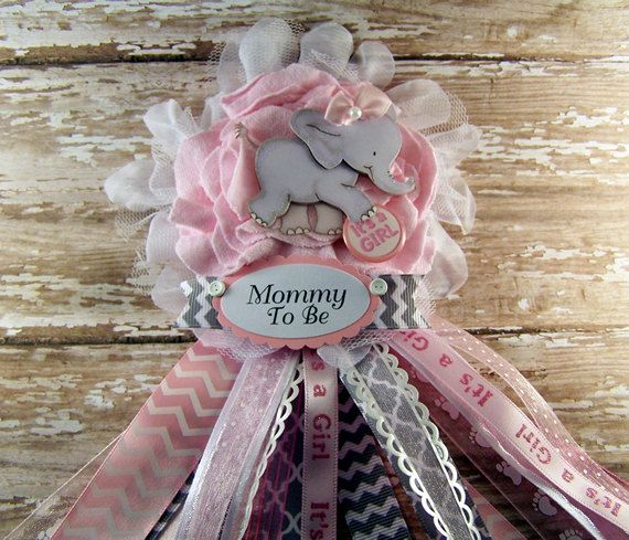 Pink Elephant Mom To Be Corsage Pink Or Blue And Gray Chevron Elephant Baby  Shower Mommy