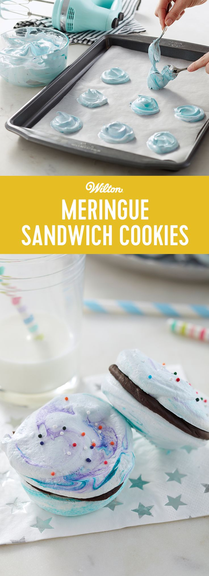 Light and airy, these Meringue Sandwich Cookies are held together with a decadent dark cocoa ganache filling, making these a great treat for the holiday season. Top your cookies with colorful sprinkles to add some added color and texture. #wiltoncakes #cookies #meringues #meringuecookies #cookiesandwich #recipes #cookieideas