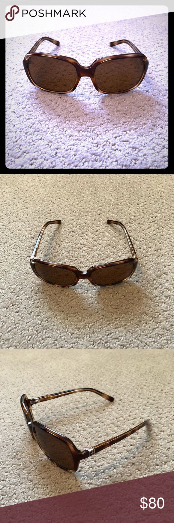 Kate Spade tortoise shell sunglasses These are perfect every day sunglasses. The tortoise shell is versatile and goes with everything. They're a rounded rectangle shape and the lenses have a brown tint. kate spade Accessories Sunglasses