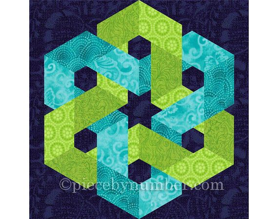 The Hexagonia quilt block pattern has detailed paper piecing foundations and…