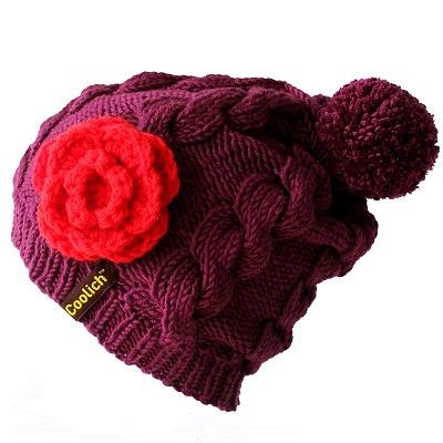 Red Flower Beanie with removable pom pom.  www.coolich.cz