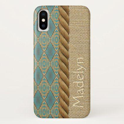 Custom Fun Ethnic Turquoise Brown Mosaic Pattern iPhone X Case - pattern sample design template diy cyo customize
