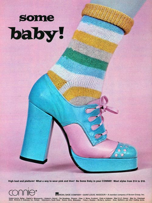 """superseventies:  """"Some Baby!"""" platform shoes, 1973."""