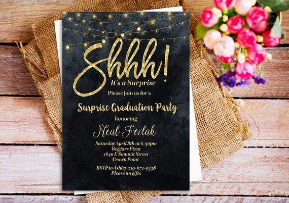 shhh it s a surprise party invitation gold glitter black and white