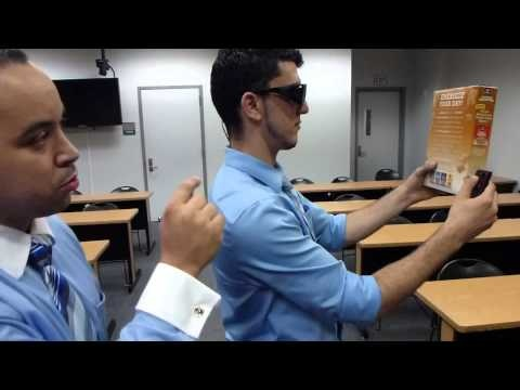 Demonstration of EyeTalk glasses that read for you, allows people with severe vision impairment to hear the text in books, newspapers, magazines etc. in a multitude of languages