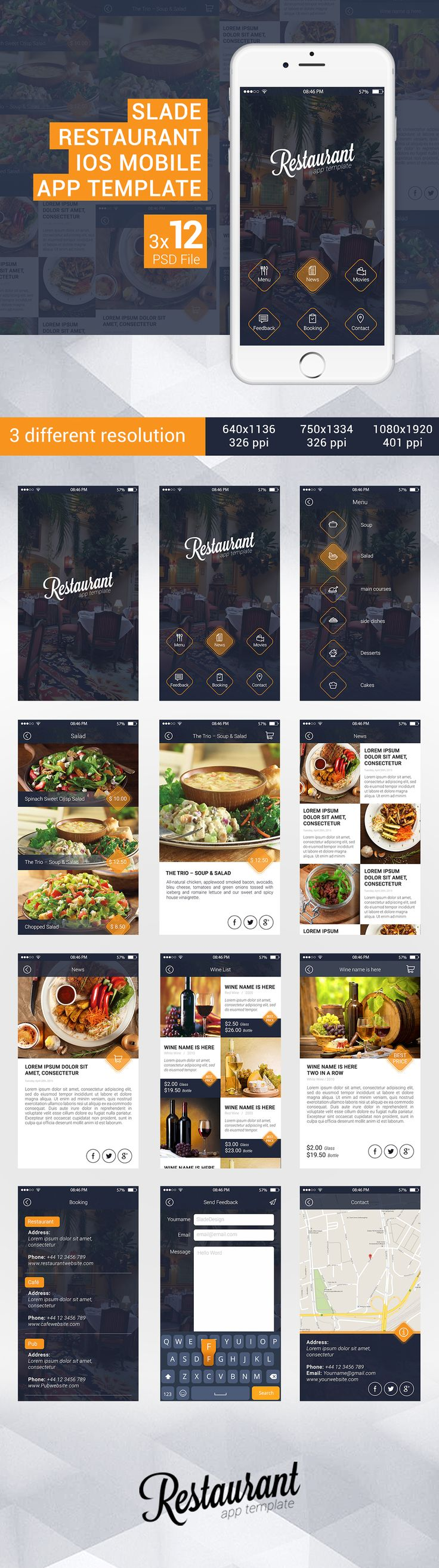 Slade Restaurant iOS Mobile App Template Restaurant app template is designed for Restaurants and Cafe lounge mobile apps. The template fits to iPhone5, iphone6, and iphone6+.this PSD file is well structured into Modules, so it would be pretty straightfo…