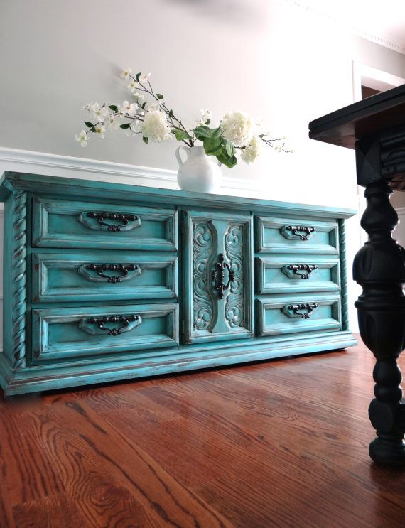 SOLD Vintage Ornate Hand Painted Cottage Chic Shabby Distressed Aqua Turquoise Teal Blue Green Dresser Buffet Console Cabinet
