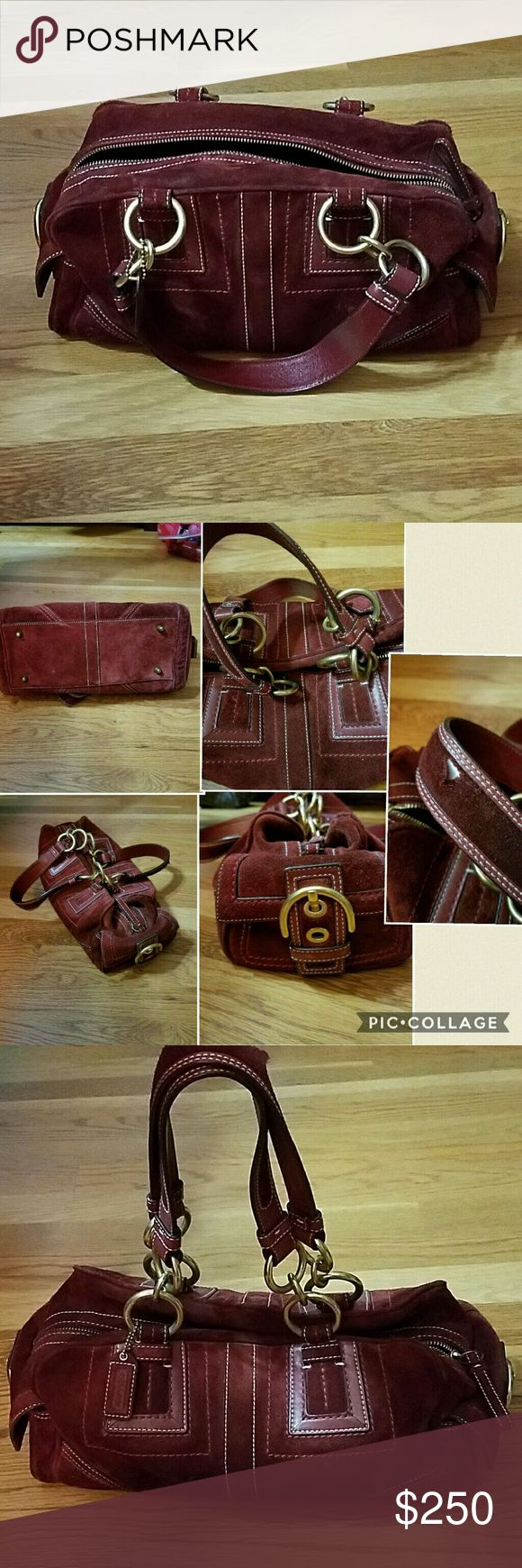 Vintage Coach Bag Vintage Coach Bag  Red Suede Only real damage is small tear on strap I was told you can go to any Coach store and send it off for repair Beautiful bag I've never seen one like it before Coach Bags Shoulder Bags