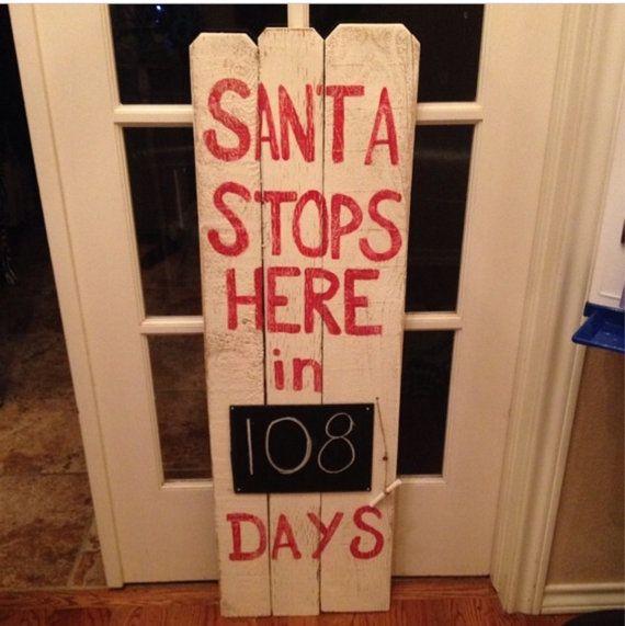 Santa Countdown Chalkboard on Reclaimed Fence Post by TwoChicsJunk Christmas sign pallet wood santa countdown