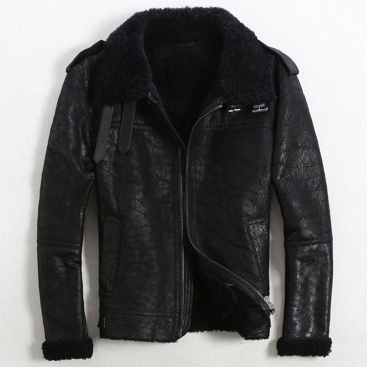 Классическая Тонкий Полет костюм ВВС США Большой лацкане Натуральной Кожи кожи Овец шерсти ягненка Меха мужская меховая куртка мужская кожаные куртки