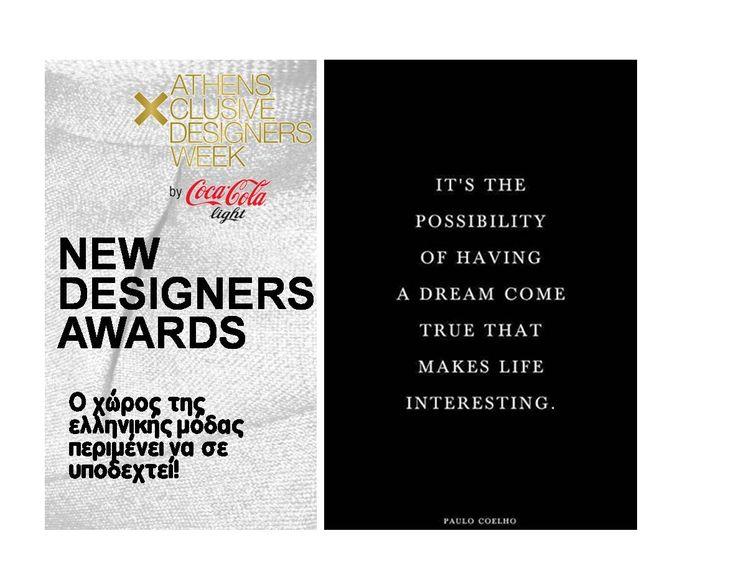 Ποιος θα είναι ο επόμενος Νέος Σχεδιαστής που θα αναδείξει η16η AXDW Οι υποψήφιοι για τα New Designers Awards είναι 16 και κάτι μας λέει ότι η κριτική επιτροπή θα δυσκολευτεί να αποφασίσει.   Arch for Art, Argiro Kalliafa, Blondie.e, Fotini Baka, L.Lada&A.Spiliopoulos, Leon, Liza & Kira, Maison Anna Dorothea, Male by aggeliki Maleviki, I.Mitakos x F. Erotokritos, Nella Ioannou, Nicolaos, Storydrops, Sinister, Sandy Antoniou, Two A's!