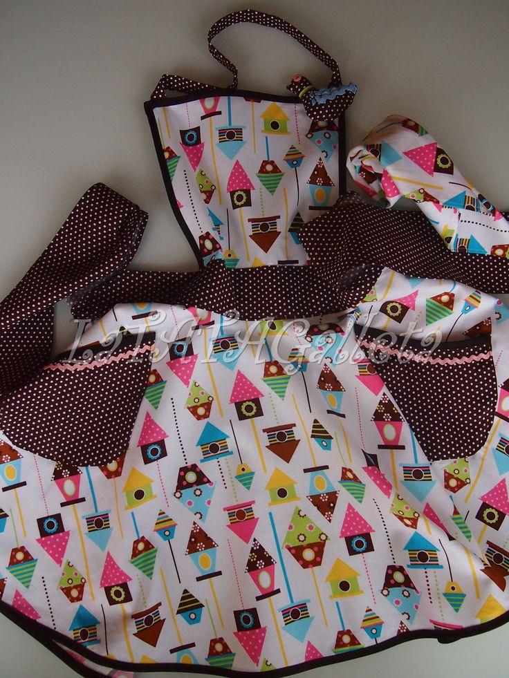 Delantal para niña..... con pájaro de adorno y casitas de pájaros. LaTATAGalleta.blogspot.com