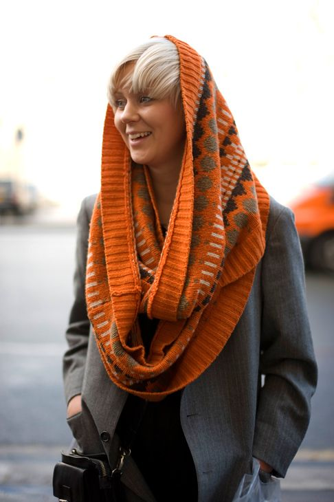 We love a snood, this aztec-inspired snood is lovely for winter.We found this image on 'The Sidewalk is Runway' check our snoods on 36Boutiques.com