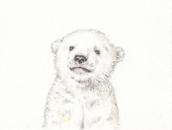 Baby animal print for nursery Polar Bear digital download