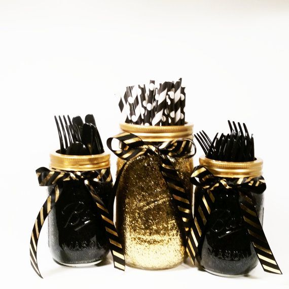 Mason Jar Centerpieces, Black and Gold Decor, Glitter Jars, Gold Wedding, Party Centerpieces, Party Decor, Graduation Party Decor, Set of 3