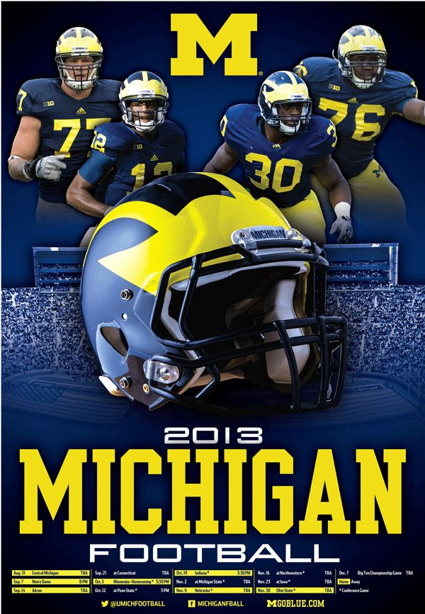 Michigan Football 2013 schedule....even though I won't get to a game this year...still LOVE my Wolverines!