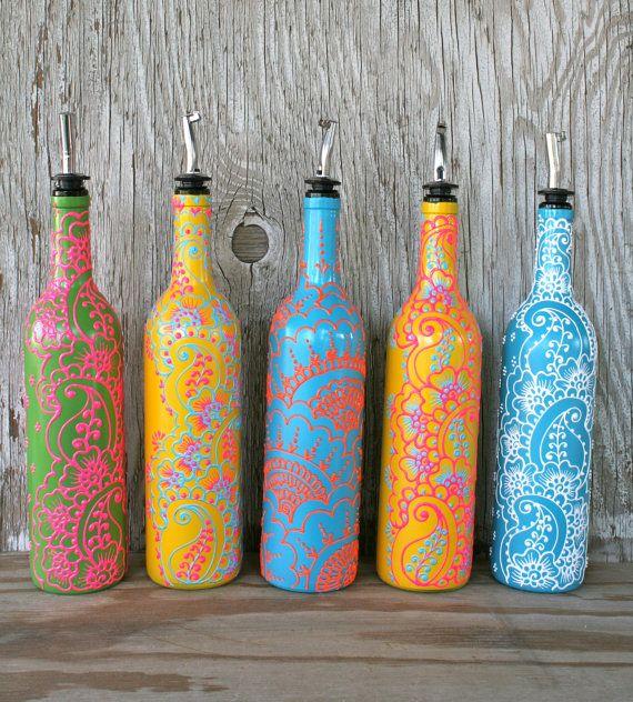 Hand Painted Wine bottle Olive Oil Pourer, Candy Apple Green and Bright Pink, Floral design, Olive Oil Dispenser