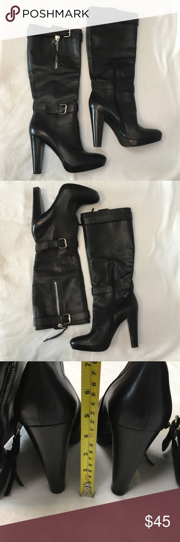 "Carlos Santana Heel Platform Black Biker Zip Boots Carlos Santana Heel Platform Black Biker Zip Boots Good Preloved Condition-see pics 4.5"" Heel Size: 10M  Reach out with any questions or offers, happy poshing!  Carlos Santana Shoes Heeled Boots"
