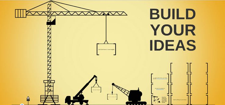 Construction free prezi template for showing how the elements of an idea build on each other from @prezibase