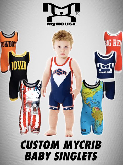 MyHOUSE Custom Wrestling Baby Singlets are made for tiny wrestlers customized with your team colors, team name, and team logo. MyHOUSE Sports Gear is the leading seller of Custom #wrestling gear in the USA.