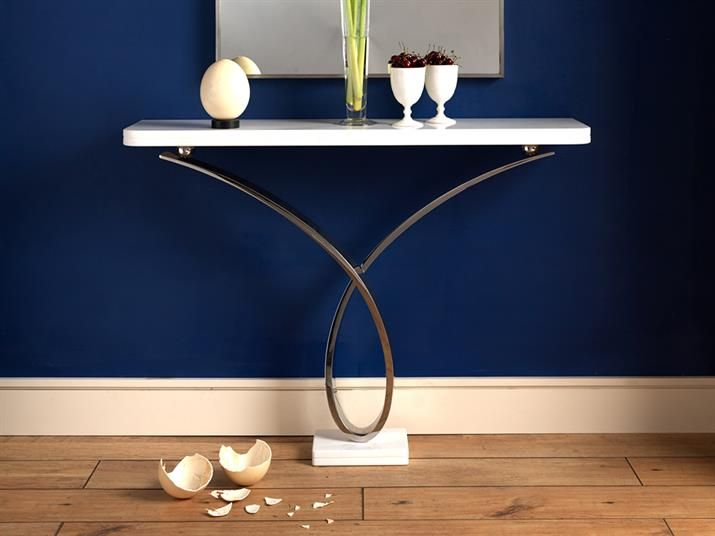 YRON CONSOLE TABLE 03 Mirror Polished Stainless Steel With Thassos Marble  Top And Plinth, Wall