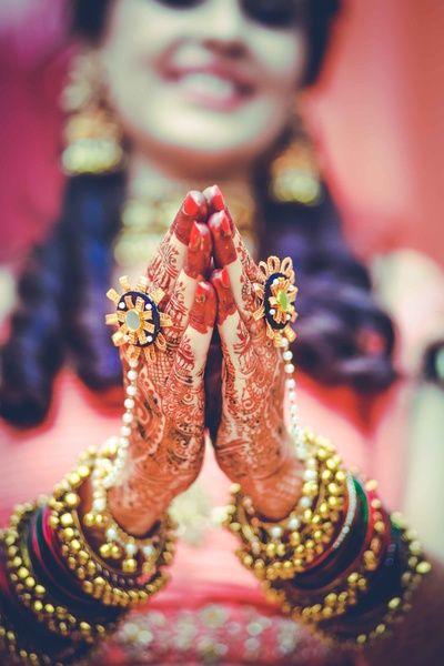 Indian Wedding Jewelry - Gota Jewelry | WedMeGood | Mehendi hands with Gota Hand Harness #wedmegood #indianbride #indianwedding #gotajewelry #mehendijewelry