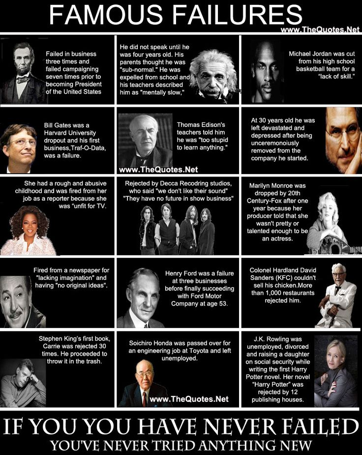 6 Wise Quotes on Failure: http://www.elephantjournal.com/2014/06/five-wise-quotes-on-failure/