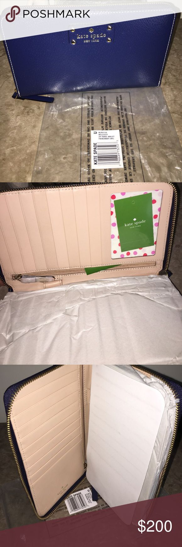 NWT Kate Spade Travel Wallet Authentic NWT Kate Spade Wellesley Zip Travel Wallet. FrenchNavy kate spade Bags Wallets