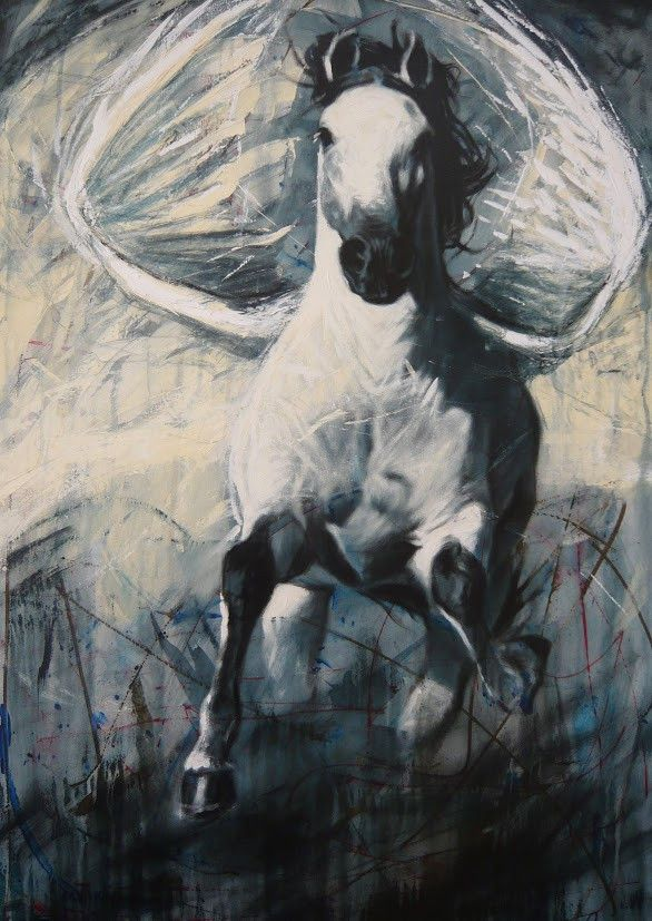 """White Horse with Black Mane and Wings"" Original Acrylic on Canvas by Yasiel Palomino Pérez 39"" x 27.5"" SOLD"