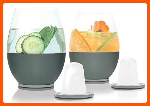 Dimple Self-chilling Stemless Wine Glasses | Magnetic Freezer Insert Makes Drinks Colder Longer | Silicone Insulated Hand-grip, Hand-blown Glass & Stainless Steel | Modern Design | Great Wine Gift - Best gadgets (*Amazon Partner-Link)
