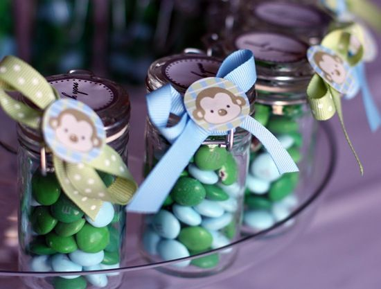 """Cute """"thank you"""" gift (candy in baby food jars with ribbon would be cute)....post also includes free monkey printables for invitations and decorations"""