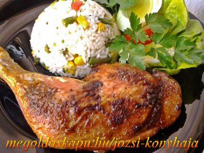 Pácolt, sült csirkecomb http://megoldaskapu.hu/csirkecomb-receptek/pacolt-sult-csirkecomb • 6 db csirkecomb • 1 dl olívaolaj • 1 dl édes fehérbor • 1 ek. méz • 1 mk kanál oregánó • 1 mk. kanál kakukkfű • 1 szál rozmaring • 1 mk. szárnyas fűszerkeverék • só • 1 mk. őrölt feketebors • 3-4 gerezd fo...