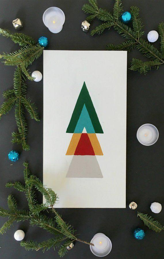 Minimalist Retro Geometric Metallic Christmas Tree Wood Sign Etsy Holiday Wood Sign Modern Holiday Decor Metal Christmas Tree
