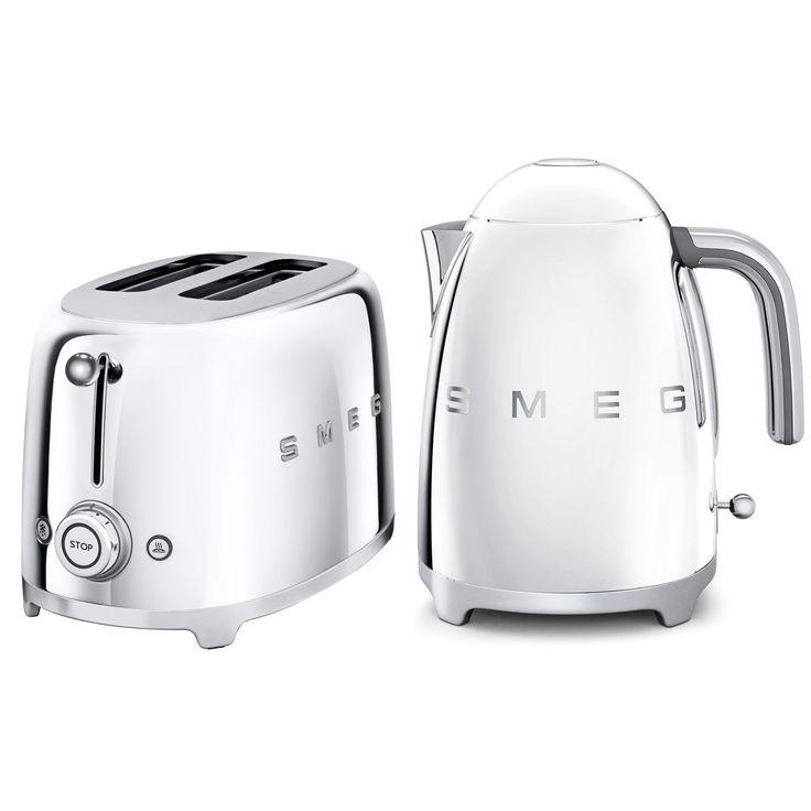 Smeg Kettle & Toaster Set, Stainless Steel