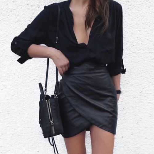 "glamblack: "" Black Lapel Long Sleeve Buttons Blouse >> Wrap bodycon skirt…"
