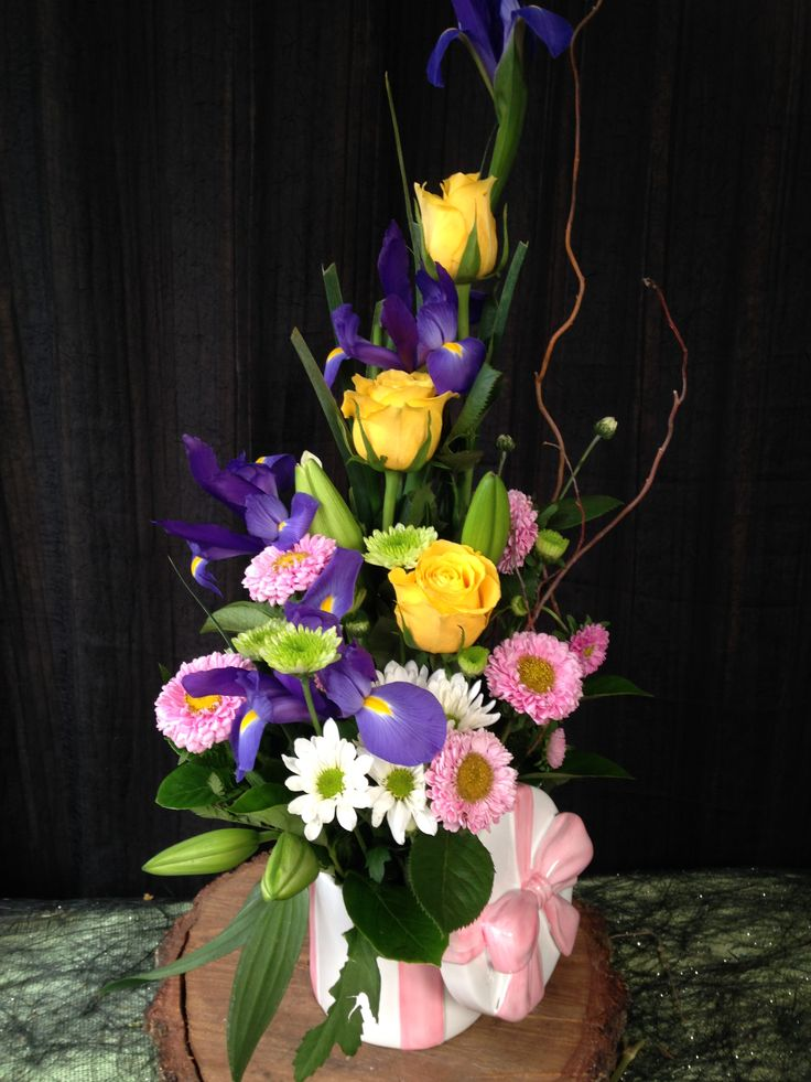 ceramic bowl arrangement also suitable for a new baby floral gift. Adelaide deliveries for any occasion