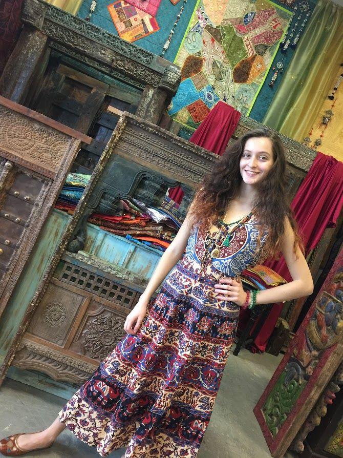 4c3fa2d261f Mogul Interior Womens Sundress Indian Handmade Block Print Elephant On  Trail Boho Summer Dresses