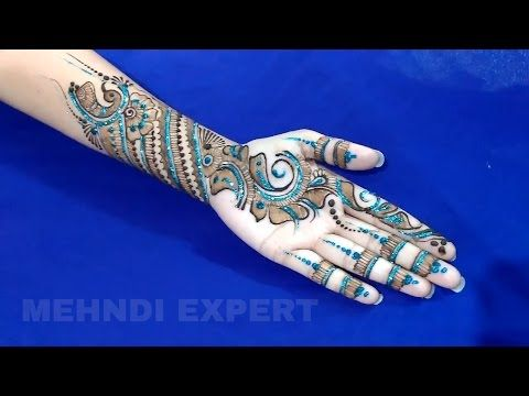 Modern style mehndi design for all occasions with blue glitter ★ step by step - YouTube